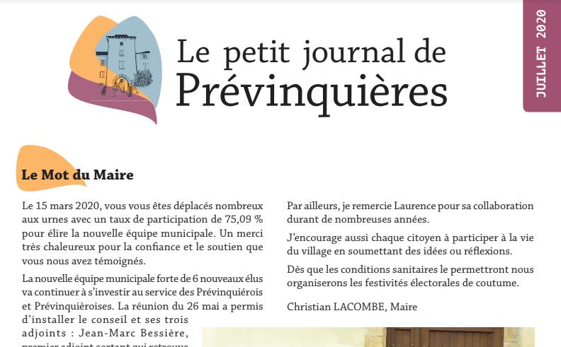 Une du Petit Journal de Prévinquières de juillet 2020